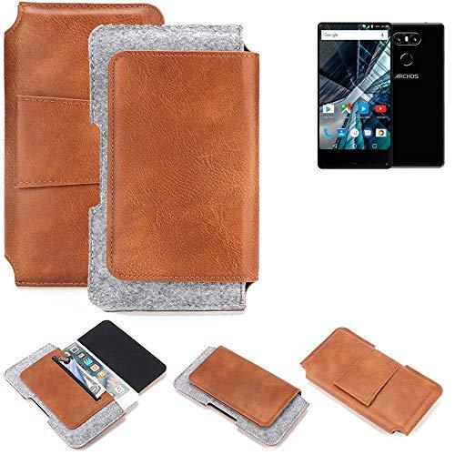 K-S-Trade für Archos Sense 55 S Gürteltasche Schutz Hülle Gürtel Tasche Schutzhülle Handy Smartphone Tasche Handyhülle PU + Filz, braun (1x)