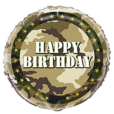 45,7 cm Folie Military Camo Happy Birthday