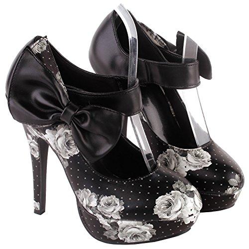 alla Show donna Story Scarpe caviglia con cinturino nera Rosa wqdIqYTrx