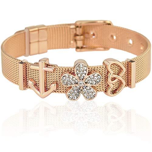 SUNIANA® - Mesh Armband Set mit Charms ♥Aloha♥ individuell erweiterbar| Charmband (Rosegold)