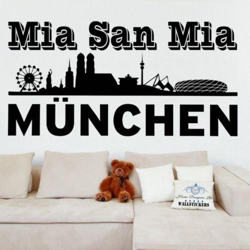 Bayern Munchen FC Wandtattoo Aufkleber Mia san mia Transfer Fußball rund, schwarz, -Medium -SIZE 90cm x 45cm (36