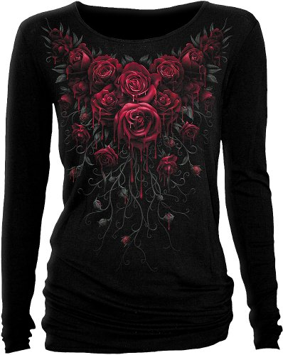 Spiral - donne - Blood rose - Baggy top nero Black Small
