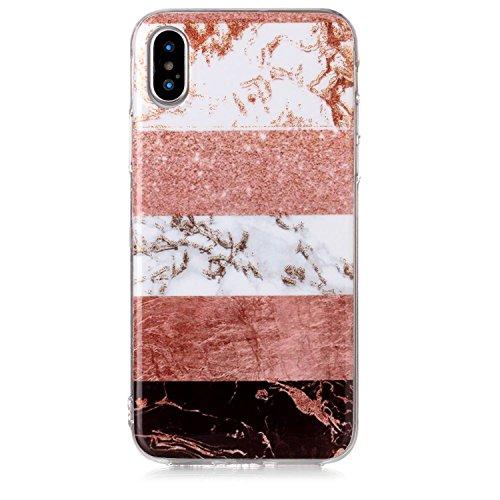 Coque iphone X Coffeetreehouse Étui protecteur avec motif de marbre,étui mince, Anti-choc TPU silicone Coque pour iphone X-Brun + blanc