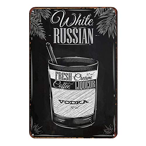 PotteLove White Russian Vintage Metal Signs Tin Plaques Wall Poster for Garage Man Cave Beer Cafee Bar Pub Club Home Decor -