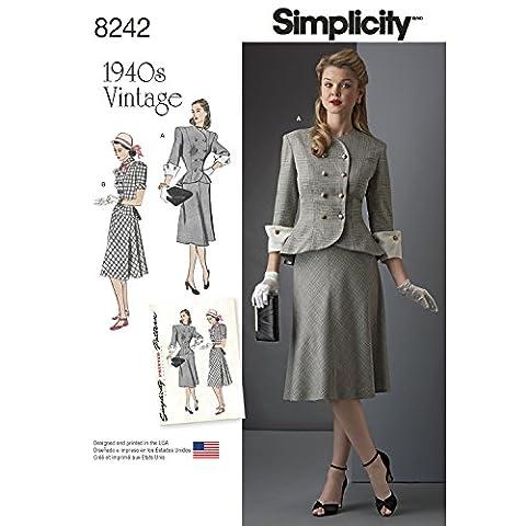 Simplicity 8242Vintage Années 1940de Miss et plus Taille Robe 2pièces,