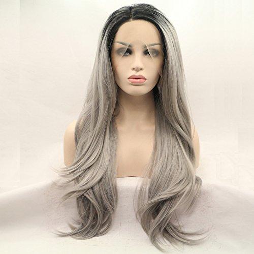 Noir/gris argenté ombré Naturel droites synthétiques Perruque lace front Premium Gris droite Perruque avec racines foncées résistant à la chaleur Fibre Cheveux