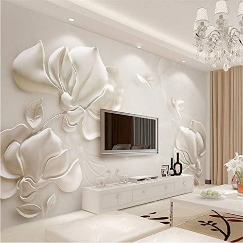 Fushoulu 3D Wallpaper Moderne Stereoskopischen Gips Geprägte Magnolia Foto Wandbild Wohnzimmer Tv Sofa Hintergrund Wandverkleidung Wohnkultur-250X175Cm