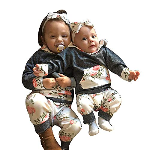VêTements BéBé 3Pcs, Manadlian Boy Girl Floral Tops Hoodie Pantalons Tenues  3Pcs Set VêTements Shirt 57b5ba8ef3e