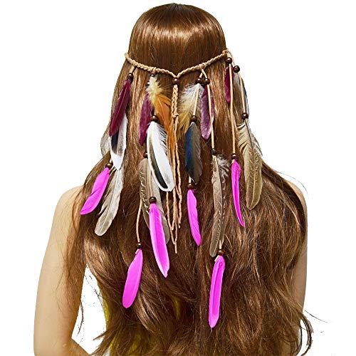 (XIAOLULU Haar-Kranz-Blumenstirnband Gypsy Hairline Quaste Feather Hair Zubehör Kopfstück Boho Kopfstück)