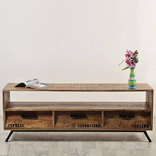 TV-Lowboard TV-Board Romsdal, Retro Vintage Design, Massivholz Mangoholz Natur, Breite 140 cm, Tiefe 40 cm, Höhe 52 cm - 2