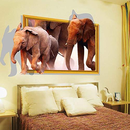 QIANGTIE Pegatinas de Pared de Vinilo Elefantes 3D Animales creativos decoración de...