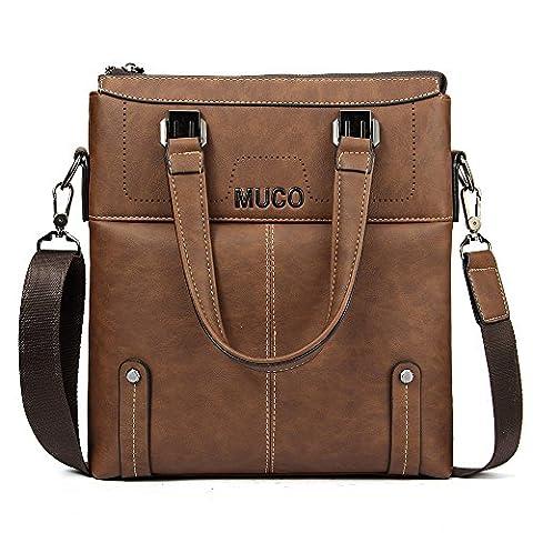 Mens Retro Brief Style Shoulder Bag Top-Handle Bags Classic Messager Bag For Men