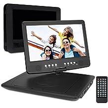 """Pumpkin PD1003B - HD Reproductor de DVD Mutimedia Portátil (10.1"""" Pantalla, USB, SD, 2700mAh Batería Interna) con Cargador de Coche y Soporte para Resposacabezas Apoyo 1080p Vídeo y Muchos Más Formatos, Negro"""