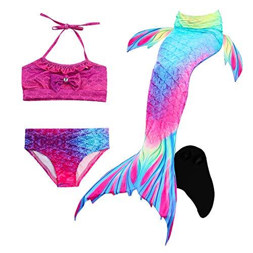 Spielen Bleach Kostüm - Le SSara Seemädchen Cosplay Bademode Mermaid Shell Badeanzug mit FIN Swimmable Mermaid Schwanz (120, DH02-Black)