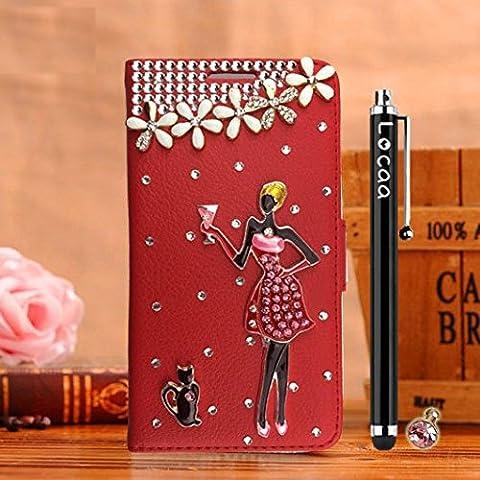 Locaa(TM) Pour Microsoft Lumia 950 Nokia Lumia950 3D Bling Case Coque Étui Cadeaux Qualité Housse Chocs Fille Couverture Protection Cover Shell Etui For Phone [Couleur 1] Rouge - Blackjack filles