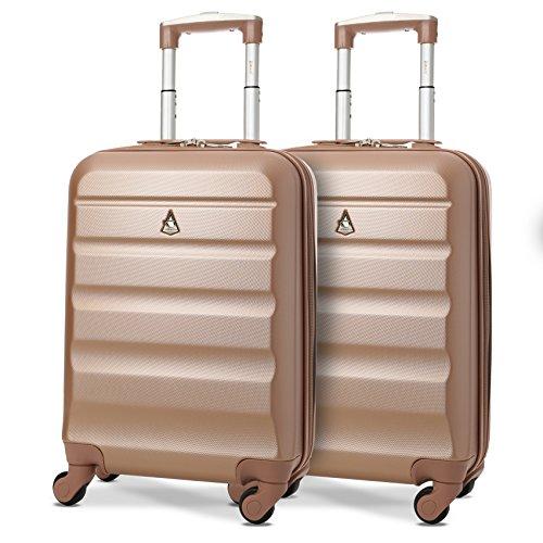 Aerolite Leichtgewicht ABS Hartschale 4 Rollen Handgepäck Trolley Koffer Bordgepäck Kabinentrolley Reisekoffer Gepäck, Genehmigt für Ryanair, easyjet und viele mehr 2 Teilig (Roségold)
