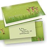 TATMOTIVE Weihnachtskarten ein Klappkarten Set Rentiere + Briefumschläge, 265 G/QM, 200-tlg. 50 Karten +50 Einlegeblätter +50 Goldschnüre +50 Umschläge - Waldgrün