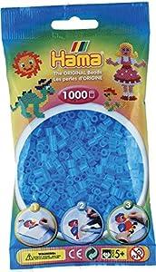 Hama Bolsa de 1.000 Cuentas cilíndricas de Repuesto, Color Azul Agua translúcido