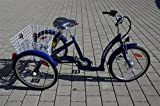 Elektro Dreirad Lanztec Elektro Therapie-Dreirad 7 Gang Shimano Nabenschaltung mit Rücktrittbremse blau