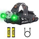 Linterna Frontal LED Recargable, con Luz verde (1 Blanco + 2 verde Luz) 3 Modos Potentes 5000 Lúmenes Linterna Cabeza, Bueno para Pescar, Caza