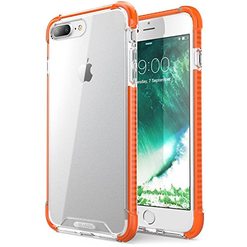 iPhone 7 Plus Hülle, iPhone 8 Plus Hülle, i-Blason Shockproof Schutzhülle Back Cover Transparente Handyhülle Stoßfest Case Schale für Apple iPhone 7 Plus / iPhone 8 Plus, Orange orange