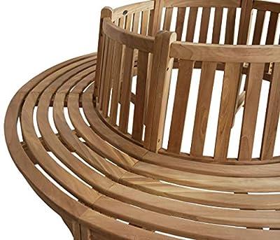 KMH®, 360° Baumbank (Kreis) mit Rückenlehne aus massivem Teakholz! (#102092) von KMH mbH bei Gartenmöbel von Du und Dein Garten