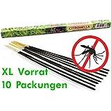 Luxflair LX1951, 10 Packungen Citronella Anti Mücken Räucherstäbchen, Brenndauer ca. 60h (gesamt). XL Vorrat als Alternative zur Citronella Kerze oder Teelichter für draußen / im Garten