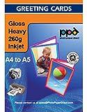 "PPD DIN A4 260 g/m2 Inkjet ""Premium"" Grußkarten Einladungskarten Klappkarten Fotopapier beidseitig bedruckbar glänzend matt 260g, DIN A4 gefalzt auf DIN A5 x 50 Karten PPD051-50"