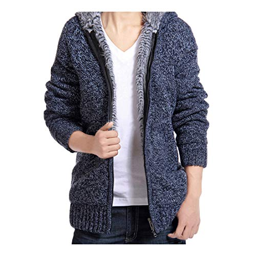 Herren übergangspullover FORH Einfachheit Farbe Hoodie Knitwear wärmen Mit Kapuze Reißverschluss Strickjacke Sweatshirt Sternen Hoch wertiger (M, blau)