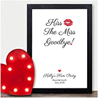 Kiss the Miss Goodbye Personalised Hen Party Accessories Games Activity - Hen Party Keepsake Photo Frame Gifts for Bride to Be - A5, A4, A3 Prints and Frames - 18mm Wooden Blocks