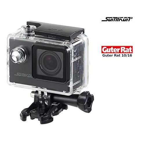 Somikon Unterwasserkamera: Einsteiger-4K-Action-Cam, Full HD (60 B./Sek.), mit Unterwassergehäuse (Helmkamera)