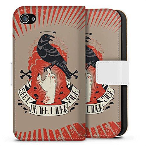 Apple iPhone X Silikon Hülle Case Schutzhülle Rabe Gothic Hand Sideflip Tasche weiß