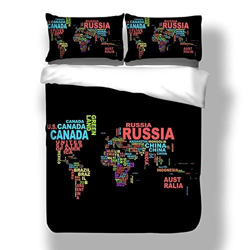 JSDJSUIT Bettwäsche-Set Schwarz Karte Bettwäsche-Set mit Kissenbezug Bettbezug Tröster Bettwäsche-Sets Bettwäsche, US Full 3tlg -