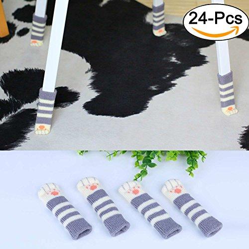 Stuhl Socken, outgeek 24 Pack Nette Katze Fuß geformt gestrickte Möbel Füße Socken Stuhl Fuß Set Cute Tisch Bein Bodenschützer (Nette Schreibtisch-abdeckung)