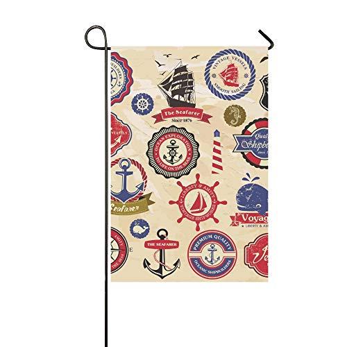 ive Outdoor Doppelseitige Sammlung Vintage Retro Nautische Etiketten Abzeichen Garten Flagge, Haus Hof Flagge, Garten Hof Dekorationen, saisonale Willkommen Outdoor Flagge ()