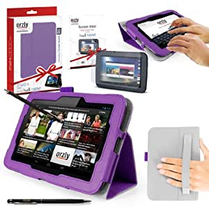 "ORZLY® Stand & Type Case for TESCO HUDL ORIGINAL 7"" Tablet - Case with Built-In Hand Strap & Integrated Stand - PURPLE Case / Cover / Skin with Built-In PropUp Stand (Dual Angle for Viewing & Typing Positions) - designed by Orzly for use with Original Hudl 7 inch Tablet - Released in 2013 (NOT second 2014 version). Case includes BONUS: ORZLY Stylus Pen + Screen Protector"