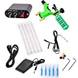 Segolike Complete Tattoo Kit Rotary Tattoo Machine Tattoo Gun, Hand Grip, Power Supply, Foot Pedal, Needles, Nozzle Tips Tattoo Supplies for Tattoo Artists and Beginners - green