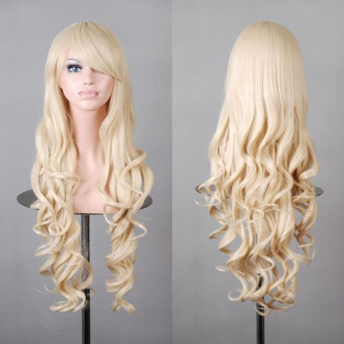 Wellenförmige Perücke gewellt Langes Haar Wig für Alltag Cosplay oder Schaufensterpuppen Karneval oder Mottoparties (blond, Modell 1) (Halloween Blonde Perücken)
