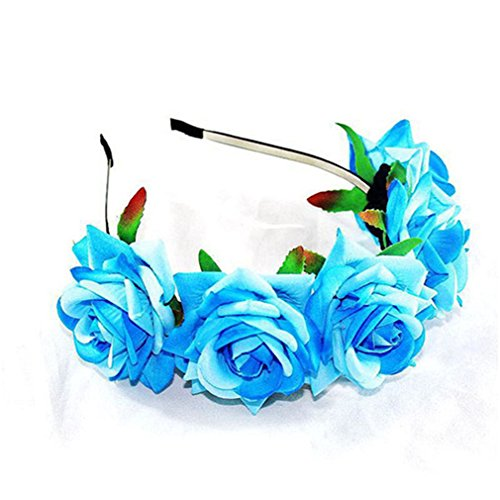 HENGSONG Damen Mädchen Rose Blume Haarreif Blumenstirnband Garland Festival Hochzeit Braut Brautjungfer Haarband Kopfband Kranz (Hellblau)