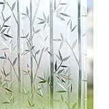 Rabbitgoo 3D Statisch Haftende Fensterfolie Bambus Dekofolie Sichtschutzfolie Fensterschutzfolie Selbsthaftend Anti-UV Upgrade Version 60 * 200cm