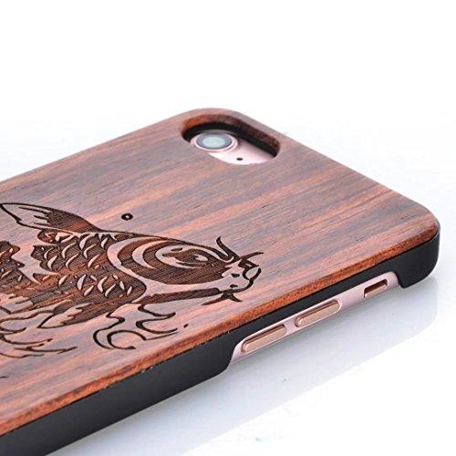 iPhone 7 Hülle, Vandot Holz iPhone 7 Schutzhülle Ultra Dünn Echtem Wood Hart Case Cover mit PC Hard Bumper Handytasche Retro Handmade Muster Patter Passgenaues Telefonkasten Handyhülle Handgefertigt R Design 13