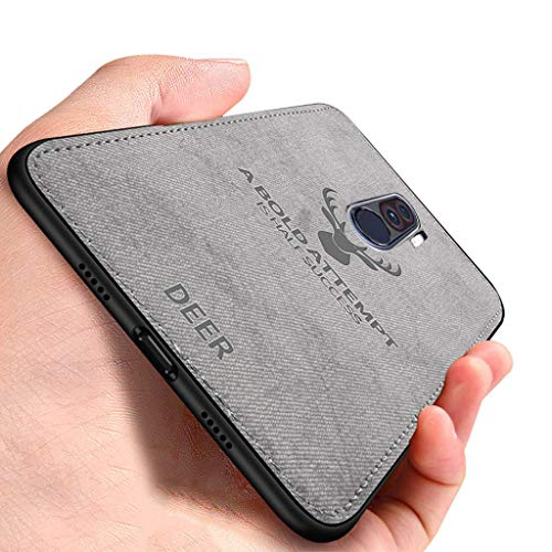 Amozo Deer Series - Ultra Slim Soft Fabric Camera Protection Case Sleek Flexible Back Case Cover for Xiaomi Poco F1 (PocoPhone F1) (Deer Case - Grey)