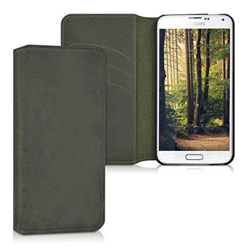 kalibri-Echtleder-Tasche-Hlle-fr-Samsung-Galaxy-S5-S5-Neo-S5-Duos-Case-mit-Fchern-und-Stnder-in-Dunkelgrau
