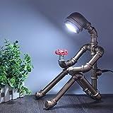 LIUYU Lampada da tavolo robot da cucina retro tubo di acqua; Lampada da letto creativa da letto da letto; Lettura da letto Camera da letto decorazione moderna; Stile europeo, Argento,luce bianca