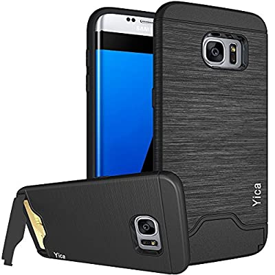 Samsung Galaxy S7 Case ,Yica Slim Fit Dual Layer Protective Case Cover with Card Slot Stand Holder Shock Reduction Anti-scratches PC Back Silicone Bumper Case Cover for Samsung Galaxy S7
