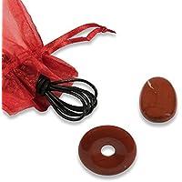 Schmuck-Set Jaspis rot, Donut, Tropfen, Lederband preisvergleich bei billige-tabletten.eu
