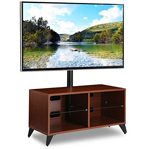 RFIVER Universal TV Ständer Fernsehschrank Fernsehtisch höhenverstellbar schwenkbar in Nussbaum für 32 bis 55 Zoll TV TW4004