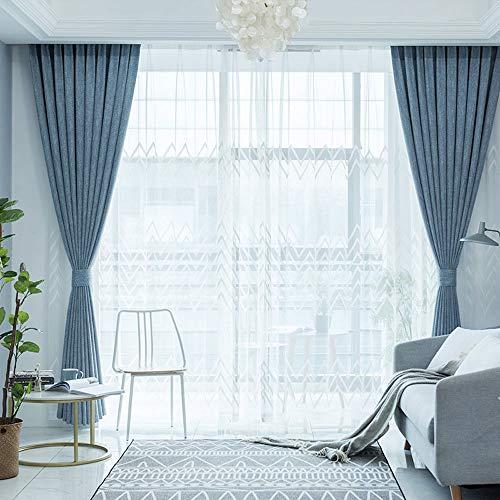 FAFEGVCFDS Undurchsichtige Schatten Tuch - Schlafzimmer Wohnzimmer Baumwolle Leinen Vorhang Balkon Fenster Isolierung Schallschutzvorhang 2 Panel blau B168 * H229 cm