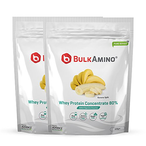 [Sponsored]Advance Nutratech BulkAmino Whey Protein Concentrate 80% Raw Powder Nutrition Supplement – 500 Gms (Pack Of 2)...