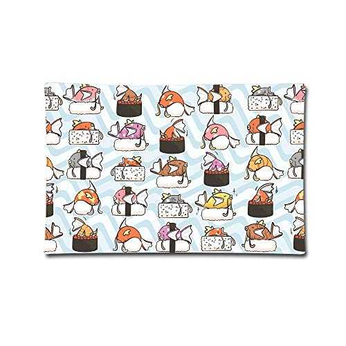 "20""X30\"" Pillow Covers Cute Sushi with Fish Double Printed Pillow Cases Cotton Sofa Cushion Cover for Home Decor"